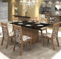 Conjunto De Mesa Para Sala De Jantar Polonia Com Vidro Preto e 6 Cadeiras Jady Ebano/Brownie - At House
