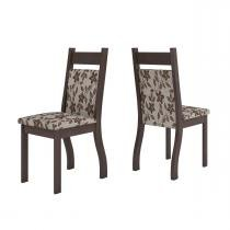 Conjunto De Mesa Para Sala De Jantar Polonia Com Vidro Preto e 6 Cadeiras Jady Nogueira/Brownie - At House