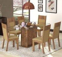 Conjunto De Mesa Para Sala De Jantar Talismã Com Vidro 6 Cadeiras Ebano/Casca - At House