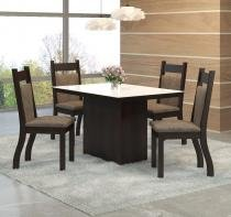 Conjunto De Mesa Para Sala De Jantar Trend Vidro Branco 4 Cadeiras Jady Nogueira/Dakota - At house