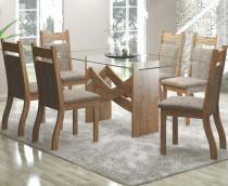 Conjunto De Mesa Para Sala De Jantar Turim Com 6 Cadeiras Jady Ebano/Dakota - At House