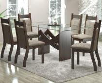 Conjunto De Mesa Para Sala De Jantar Turim Com 6 Cadeiras Jady Nogueira/Dakota - At house