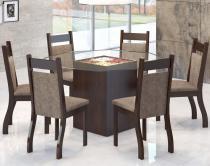 Conjunto De Mesa Para Sala De Jantar Viena Com 6 Cadeiras Jady Nogueira/Dakota - At House