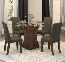 Conjunto De Mesa Para Sala De Jantar Walquiria Vidro Com 4 Cadeiras Ebano/Camurça - At House