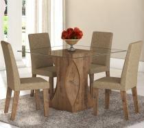 Conjunto De Mesa Para Sala De Jantar Walquiria Vidro Com 4 Cadeiras Ebano/Gold - At House