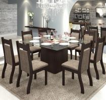 Conjunto De Mesa Para Sala De Jantar Xangai Com 8 Cadeiras Jady Nogueira/Dakota - At House