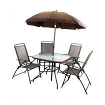 Conjunto de Mesa Quadrada para Jardim com Cadeira e Guarda Sol - 6 Peças - THCMCM6 - Tander