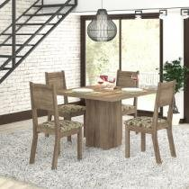 Conjunto de Mesa Sofy com 4 Cadeiras Tampo Madeira Carvalho - Viero - Viero