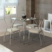 Conjunto de Mesa Tampo de Vidro com 4 Cadeiras - Móveis Carraro Casual