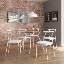 Conjunto de Mesa Tampo de Vidro com 4 Cadeiras - Móveis Carraro Paris