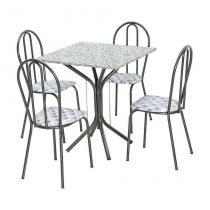 Conjunto de Mesa Thais com 4 Cadeiras Craqueado Preto Capitonê - Artefamol