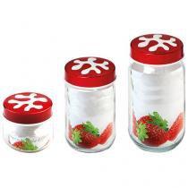 Conjunto de Potes de Vidro Redondo 3 peças - com Tampa Casambiente H135378