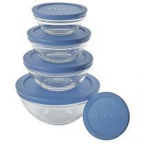 Conjunto de Potes de Vidro Redondo 5 Peças - Euro Home VDR3008-AZ