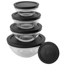 Conjunto de Potes de Vidro Redondo 5 Peças - Euro Home VDR3008-PT