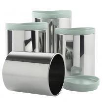 Conjunto de Potes para Mantimentos em Aço Inox com Tampa em Polipropileno 4 Peças Menta 2117/191 - Brinox - Brinox