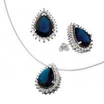 Conjunto de Prata com Gota Azul - Joia em casa