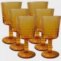 Conjunto de Taças Quadriculadas Âmbar 6 peças - Decorafast