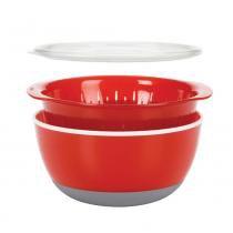 Conjunto de tigela com tampa e escorredor vermelho oxo - Oxo