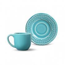 Conjunto de xícaras de cafe 6 pecas madeleine azul poppy 75ml porto brasil - Porto brasil