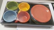 Conjunto de xícaras de cerâmica com bandeja 8 pçs - 7964