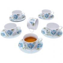 Conjunto de Xícaras em Porcelana 12 Peças - Casambiente Tea Floral