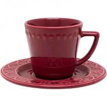 Conjunto de Xícaras para Chá com pires 6 Peças Mendi Corvina - Oxford -