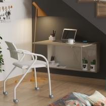 Conjunto Escritório com mesa Dobrável e Cadeira em Napa Branca - Marrom - Móveis Carraro