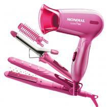 Conjunto Especial Fashion Pink Mondial - Prancha + Escova Modeladora + Secador 1200W - Mondial