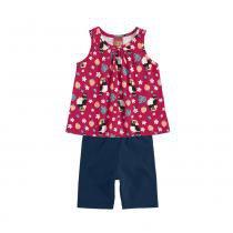 9f03212ded8 Conjunto Infantil - Feminino - Regata e Bermuda - Passarinhos - Vermelho -  Kyly -