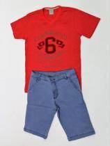 Conjunto Infantil Masculino - Camiseta Vermelha Bermuda Jeans - Carinhoso c0810ded3d3ce