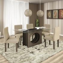 Conjunto Inovare com 6 cadeiras Inovare Alto Brilho Prêmio LJ Móveis Chocolate Craqueado Bege -