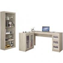 Conjunto Itapevi 2 Portas 3 Gavetas Politorno - com Mesa para Computador/Escrivaninha e Estante