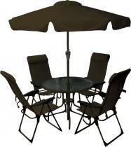 Conjunto Jardim Monaco 4 Cadeira Alta + Mesa + Ombrellone Marrom - Bel lazer