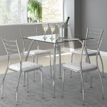 Conjunto Mesa 1502 Vidro Incolor Cromada com 4 Cadeiras 1700 Fantasia Branco Carraro -