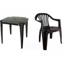 Conjunto Mesa 4 Cadeira Poltrona Plástico Preto Antares -