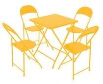 Conjunto Mesa 4 Cadeiras Dobráveis em Ferro Amarelo Metalmix -