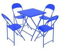 Conjunto Mesa 4 Cadeiras Dobráveis em Ferro Azul Metalmix -