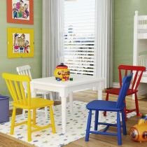 Conjunto Mesa com 4 Cadeiras Infantis - Madeira Maciça - Acabamento em Laca Fosco - Deiss