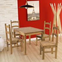 Conjunto Mesa de 100cm x 80cm com 4 Cadeiras Cancun - Madeira Maciça Pinus - Acabamento Cera - CasaTema