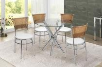 Conjunto Mesa de Jantar  1 Mesa M007 e 4 Cadeiras C155 - RCCJ007155 - Alegro - Alegro