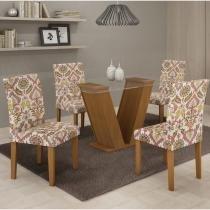 Conjunto Mesa de jantar com 4 Cadeiras Classic Nogueira - Cel Móveis - Cel Movéis