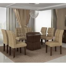 Conjunto Mesa de jantar com 8 Cadeiras Riviera Cappuccino - Cel Móveis - Cel Movéis