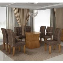 Conjunto Mesa de jantar com 8 Cadeiras Riviera Castanho - Cel Móveis - Cel Movéis