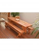 Conjunto Mesa de Jantar Madeira Machetada com 2 Bancos - Angelim - Casa nova madeiras
