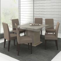 Conjunto Mesa de Jantar Topazio Tirol/Amêndoa  + 6 Cadeiras Imbuia Tecido Saara - Madesa - Marrom - Madesa