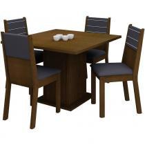 Conjunto Mesa de Jantar Vega Imbuia + 4 Cadeiras Imbuia Courino Preto - Madesa - Madesa