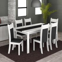 Conjunto Mesa de Jantar Veneza Branco/Preto + 6 Cadeiras Brancas Courino Preto - Madesa - Branco/Preto - Madesa
