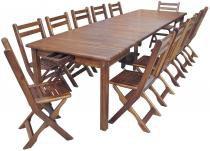 Conjunto mesa elástica 5,20m com 20 cadeiras e carrinho porta cadeiras teka imbua Móveis Machado - Móveis Machado