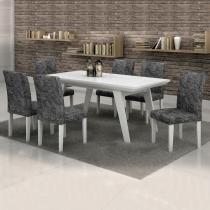 Conjunto Mesa Esmeralda 170x90 cm c/ 6 Cadeiras Classic vidro Branco - Cel Móveis - Cel Movéis