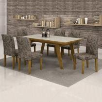 Conjunto mesa esmeralda 170x90  cm c/ 6 cadeiras classic vidro off white - cel móveis - Cel moveis